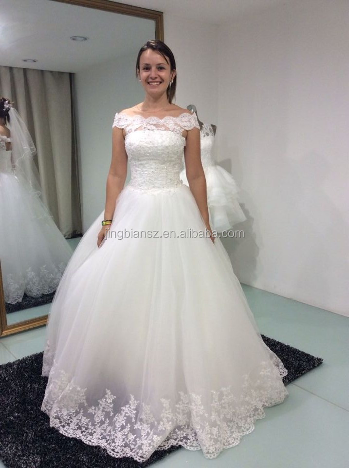 Real sample boat neck lace bridal wedding dress #OW362