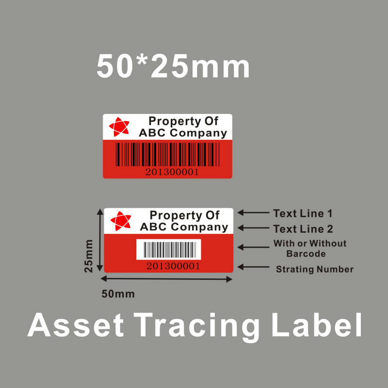 It is an image of Tactueux Security Labels Asset Tagging