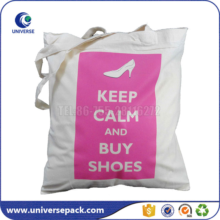 Recycled Large Tote Canvas Shoes Carrier Bag With Print For Shopping