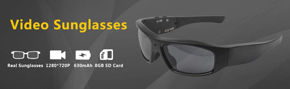 USA Ship Bluetooth Sunglasses with Camera 8GB SD Card HD 720P Video Recorder