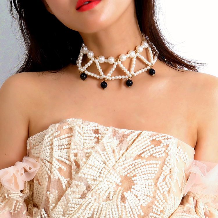 Bohemian Multilayer Imitation Pearl Choker Necklace,Statement Pearl Tassel Pendant Geometry Necklace (KNK5029, Same as the picture