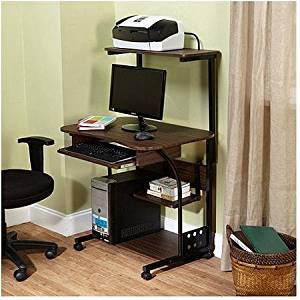 Mobile Computer Tower with Shelf, Espresso