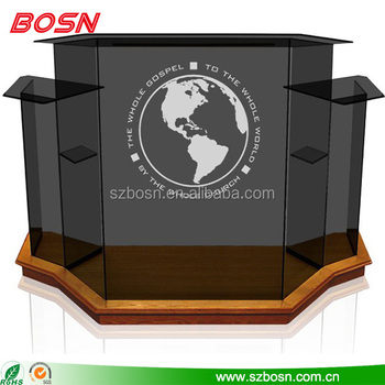 Great quality deluxe acrylic speech pulpit podium Perspex table top lectern with wooden