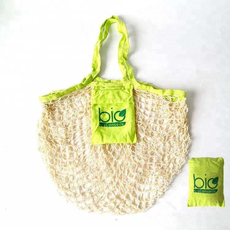 Çevre dostu moda el yapımı katlanabilir pamuk örgü alışveriş çantası pamuklu file çanta