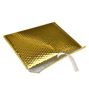 Custom Bright Gold Poly Bubble Mailing Mailer Shipping Padded Envelope Bags Black Color Shockproof Courier Bubble