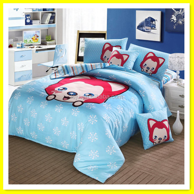 Kids cartoon cute bed sheets bedroom bedding sets 100% cotton natural