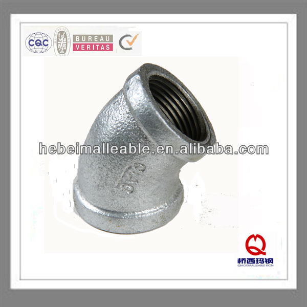 malleable cast iron drain pipe fittings gi elboe 45 degree