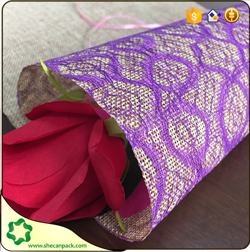 2017 the latest composite lace jute farbic roll