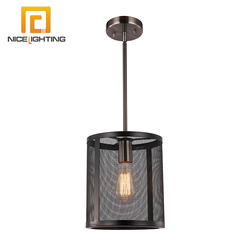 Nice lighting E26 black shade chandelier antique nickel edison art deco mesh hanging mini pendant lighting