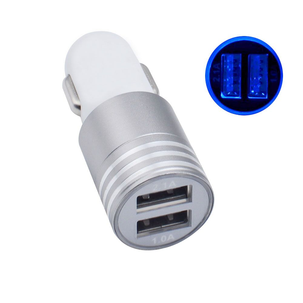 Newest Factory Price Aluminium Alloy+ABS 5V 3.1A 2 USB Ports Car Charger for Mobile Phone Chargers