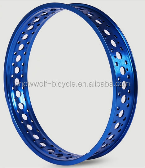 Aluminum alloy anodized blue fat bike rim with double layers