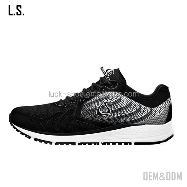 All black sport running shoes for men track running mesh shoes on sale branded sport footwear low price