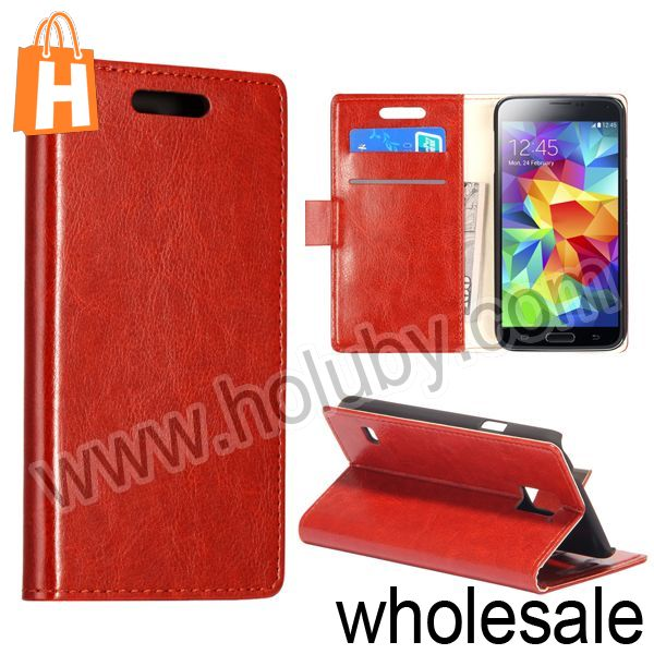 New Simply Style Crystal Grain Pattern Stand Phone Leather Case for Samsung Galaxy S5 i9600 With Card Slot