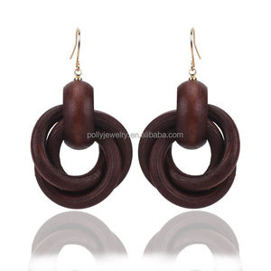 2017 New Fashion Statement Cheap Price Brown African Tribal Wood Drop Earrings