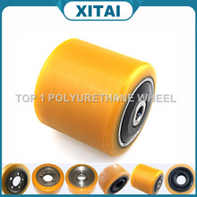 High Quality China Polyurethane hand hydraulic forklift wheels pu wheels with bearings