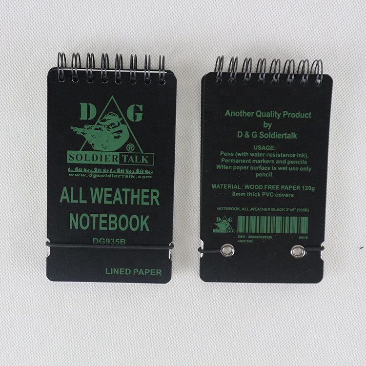 PVC Cover Wire Ring Waterproof Notebook with rubber band