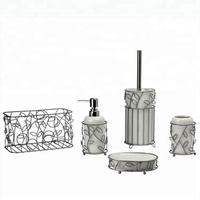BX Group white unique new design ceramic bathroom accessory set with steel basket