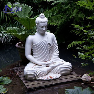Garden decoration carving life size Meditating white marble sitting buddha statue for sale