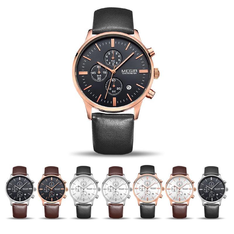 dfcdefaea1ba MEGIR Original reloj hombres Top marca de lujo hombres reloj de cuero  Relojes