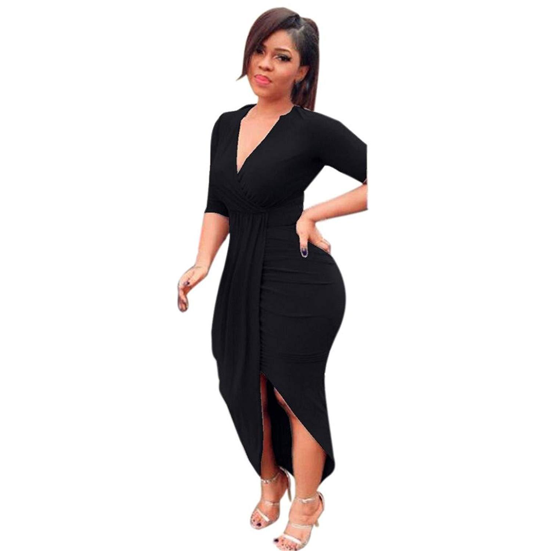 707abe482c2 Get Quotations · Kimloog Wrap Dress, Women V Neck 3/4 Sleeve Ruched Bodycon  Long Maxi Dresses