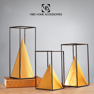 Artificial decorative home Accents gold metal pyramid