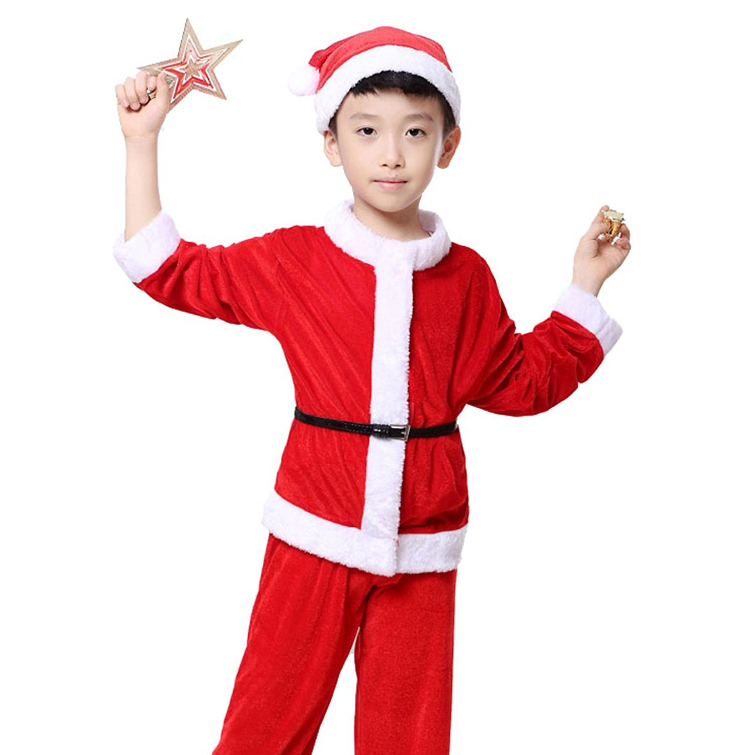 26bedde3d Get Quotations · Multifit Kids Christmas Santa Costume Toddler Santa Claus Costume  Suit with Hat
