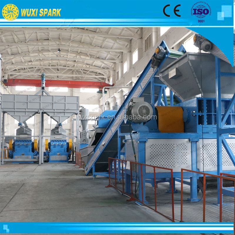 Continuous rubber crumb production system from waste tires