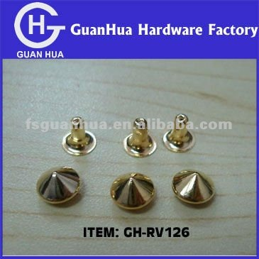 Round Cone Fake Gold Spike Studs rivets for shoes