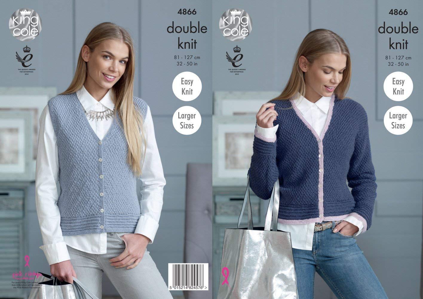 80643964c6d3f2 Get Quotations · King Cole Ladies Cardigan   Waistcoat Baby Alpaca Knitting  Pattern 4866 DK