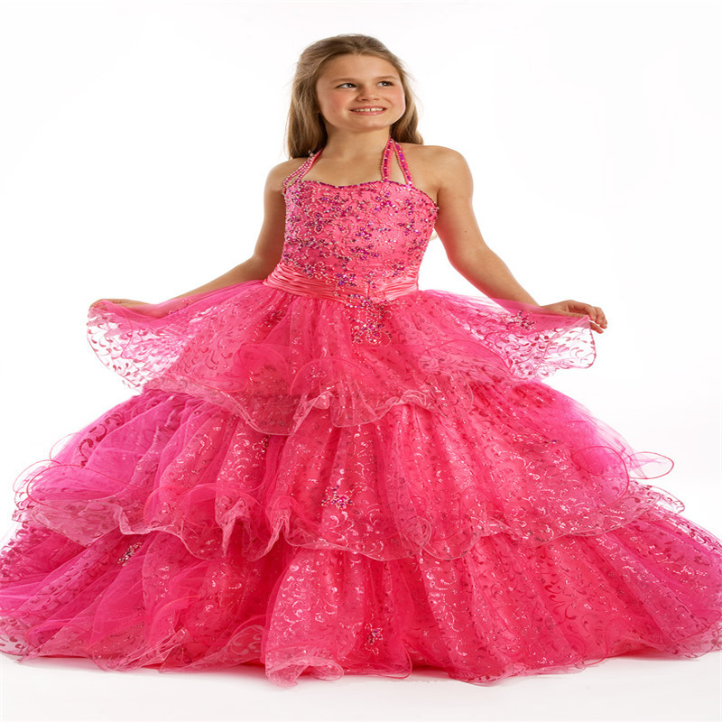 Get Quotations · Halter Hot Pink Children Princess Ball Gowns Ruffled Floor  Length Tiers Beads Little Girls Pageant Dresses ed94b1dbe762