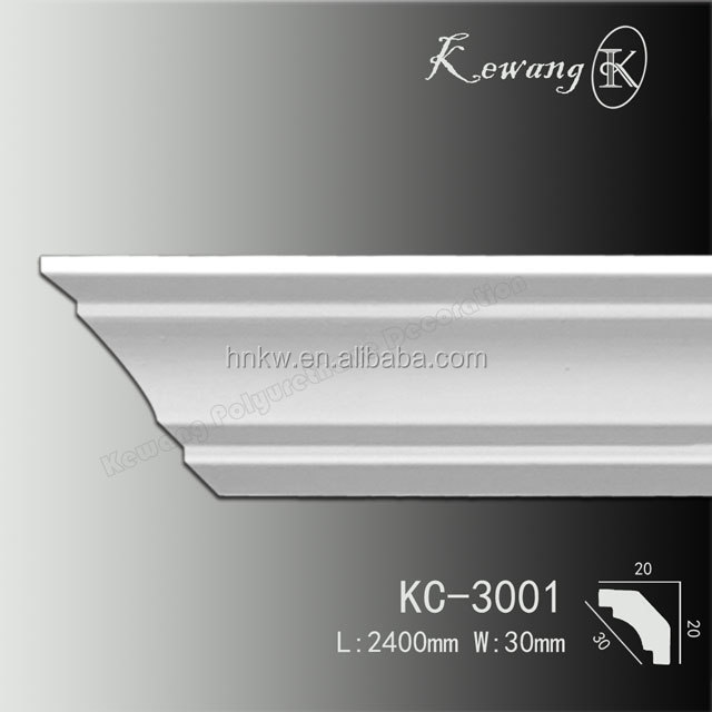 KC-3001 PU Material Imitating Wood Decorative Crown Mouldings Cornice For Exterior