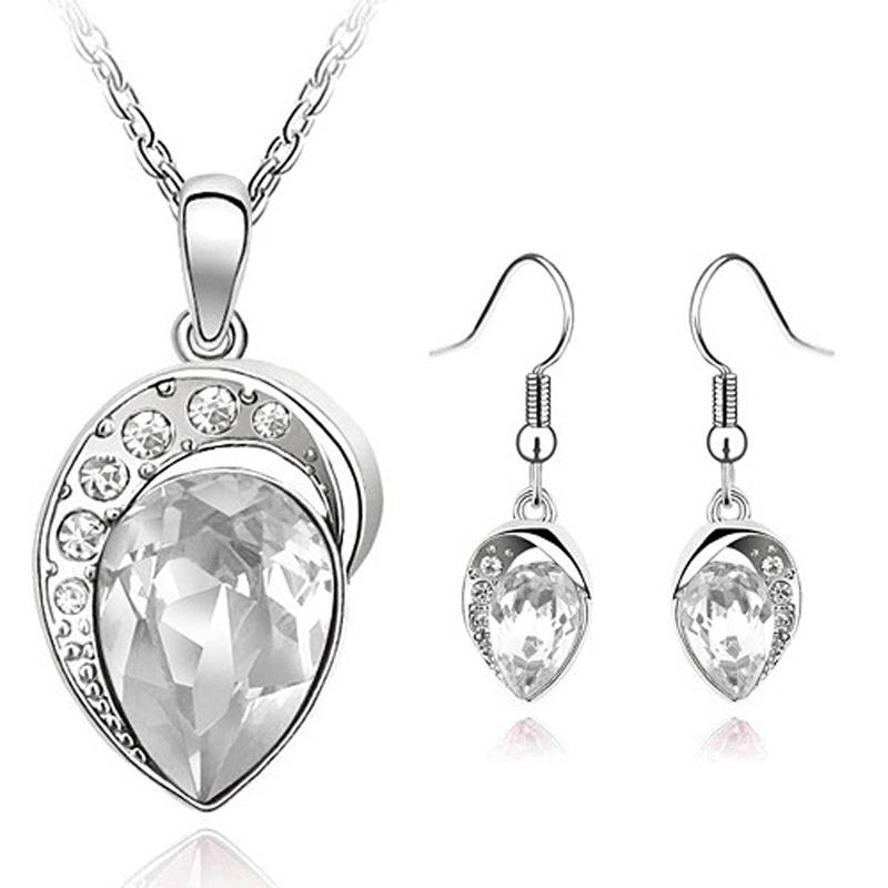 White Gold Filled Rhinestone Fine Jewelry Set free shipping worldwide