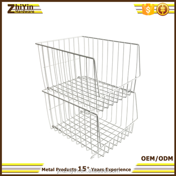 Metal Wire Baskets Storage | White Large Stackable Display Metal Wire Baskets For Vegetables