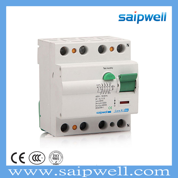 SAIPWELL 25A 4 Pole Mini Circuit Switch Electrical Safety New Design CEE/IEC RCD Switch