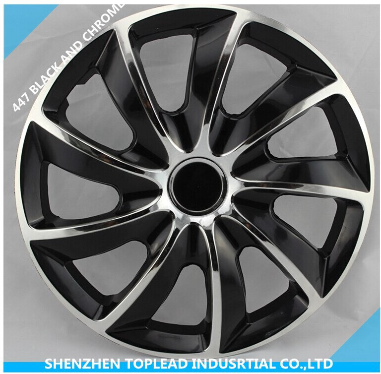 Universal Bi Color Rim Cover Anti Wear Black And Chrome Genius Plastic Car Wheel