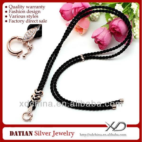 XD A0015 pure cotton cord necklace with 925 sterling silver two hearts clasp silver necklace jewelry