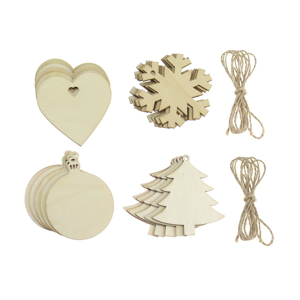 20 PCS Wooden Christmas Hanging Ornaments Christmas Tree Snowflake Shaped Embellishments for Festival Decoration, Wood Slices with Holes, 4 Styles