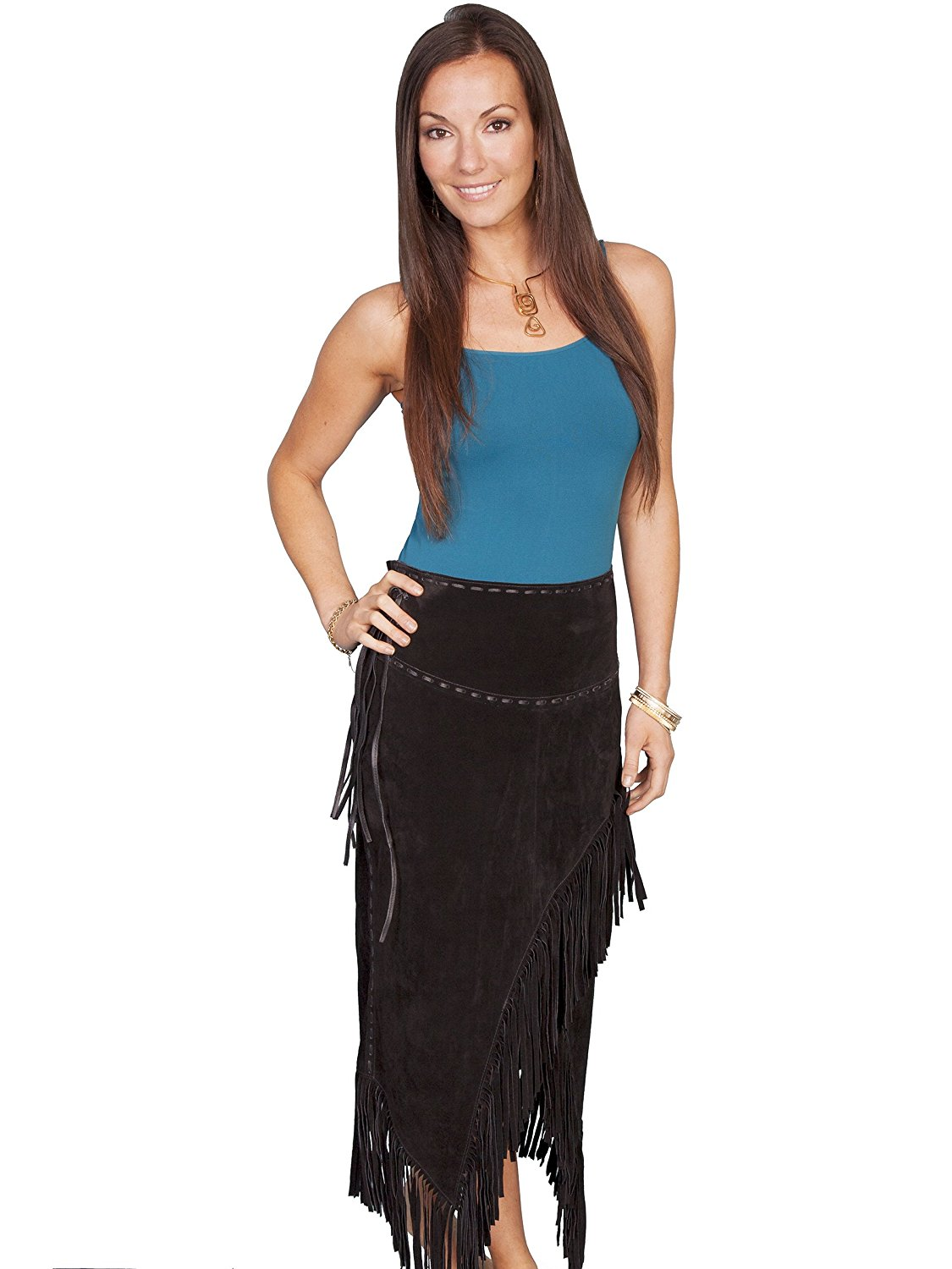 39e5026d05 Get Quotations · Scully Women's Asymmetrical Fringe Suede Leather Skirt -  L659-19
