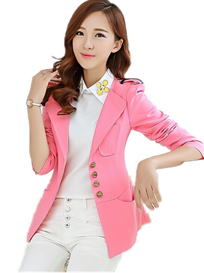 New Arrivals 2015 Female Spring Fasll Slim Single Breasted Suit Jacket,Ol Colorful  Women blazers S-3XL  pink/purple/green/blue/