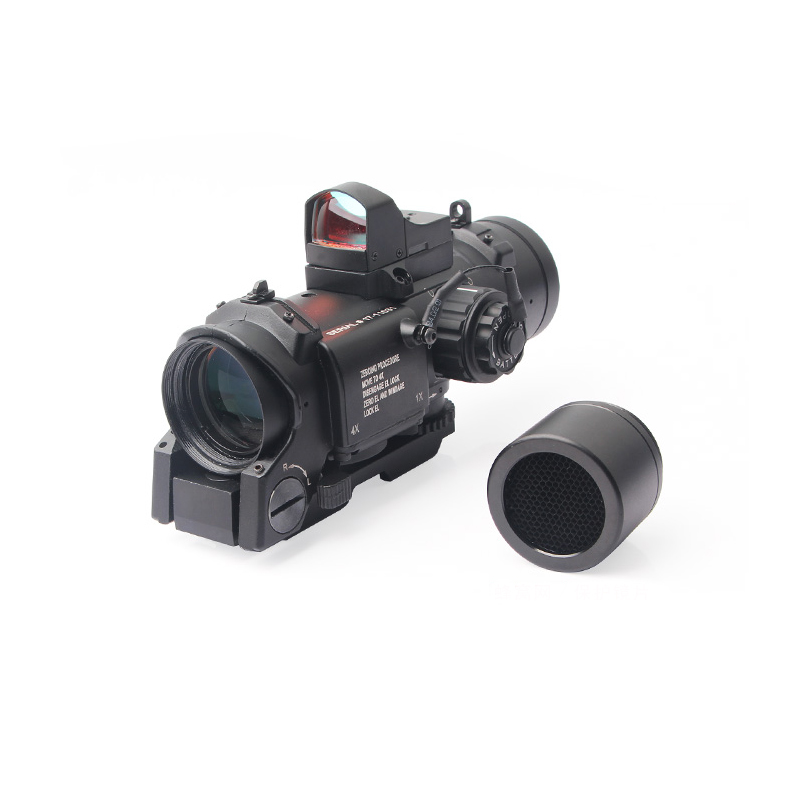 Acog Tactical Rifle Scope 4X Red Dot Holographic Sight Parts Collimator Sight Scope, Black