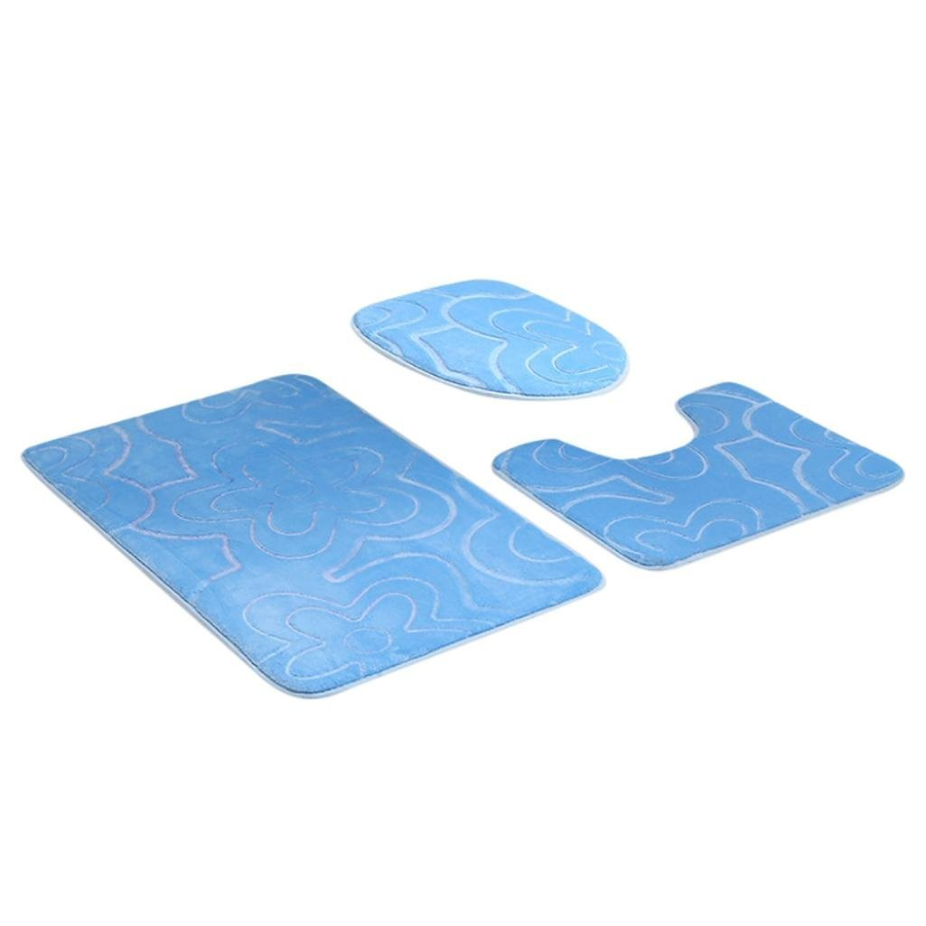 Get Quotations Yp 3pc Bathroom Set Rug Contour Mat Toilet Lid Cover Plan Solid Color Bath Mats