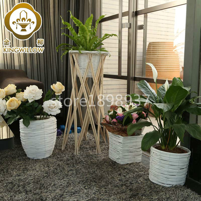 handgefertigt korbwaren dekorative rattan korbwaren pflanzer blument pfe innen gro e bodenvasen. Black Bedroom Furniture Sets. Home Design Ideas