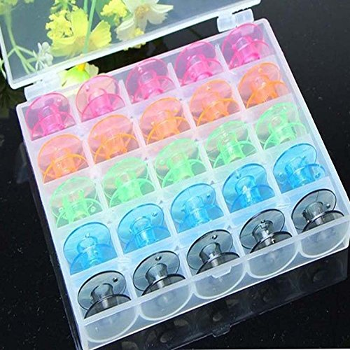ACE 25Pcs/Set Empty Bobbins Sewing Machine Spools Colorful Plastic Case Storage Box for Sewing Machine