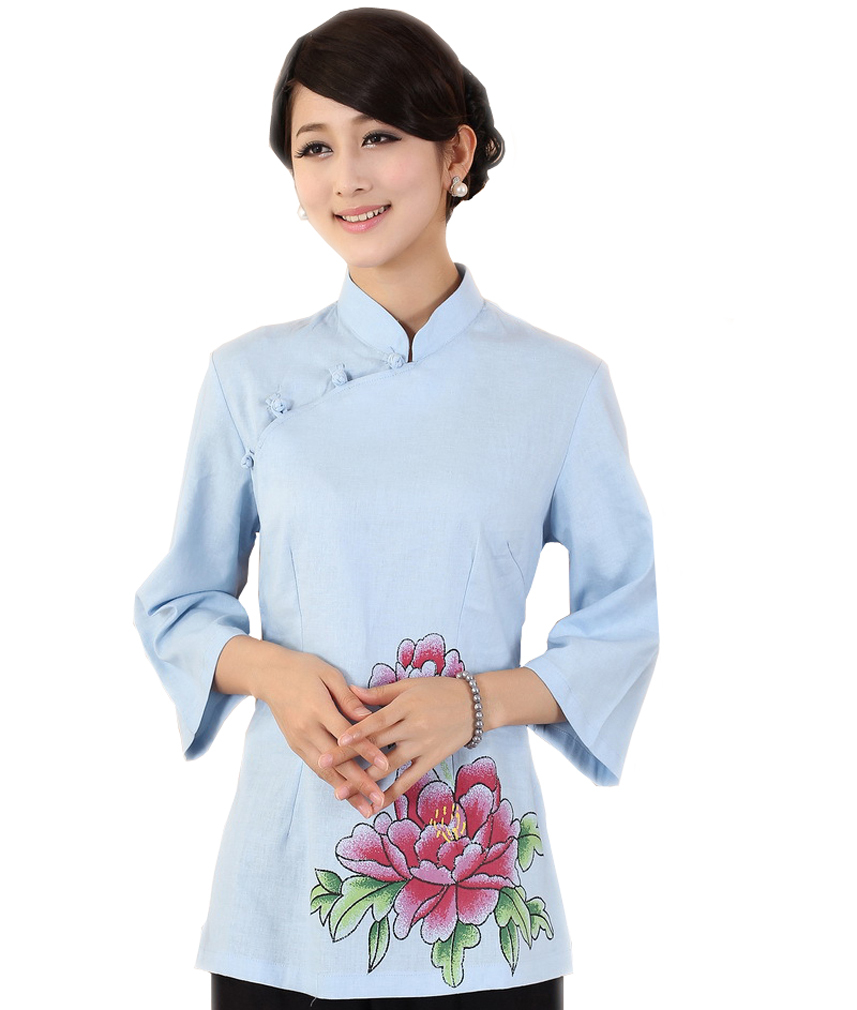 4ea8d5141248 Get Quotations · Free shipping New Ladies Slim Cheongsam Blouse Tops Tees  Blue Peony Shanghai style chinese Traditional Clothing