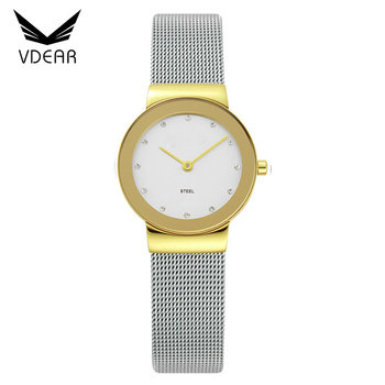 Water Resistant Stainless Steel Back Watches 3 Bar Lady Hand Watch Diamond Quartz