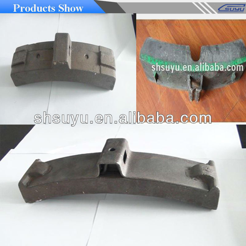 Suyu cast iron rail stopping shoe/ligth rail and subway brake shoe