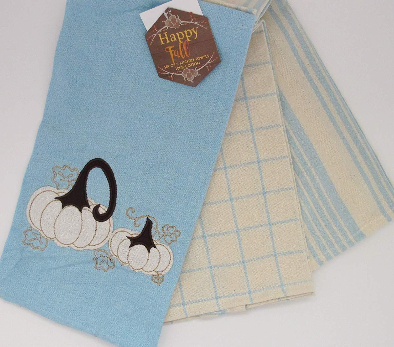 3 Piece Fall Autumn Kitchen Towel Set Natural Blue ~ Embroidered Applique Pumpkin