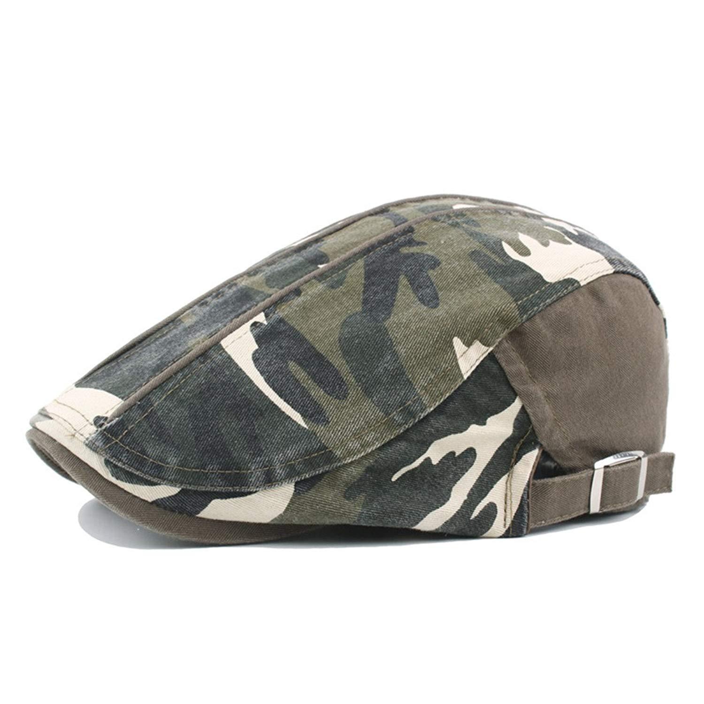 d598a918b1484 Globalwells Men Women Camo Cotton Flat Hats Vintage Ivy Gatsby Newsboy  Duckbill Caps