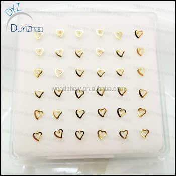 Real Gold Heart Shape Sterling Silver Nose Rings Buy 925