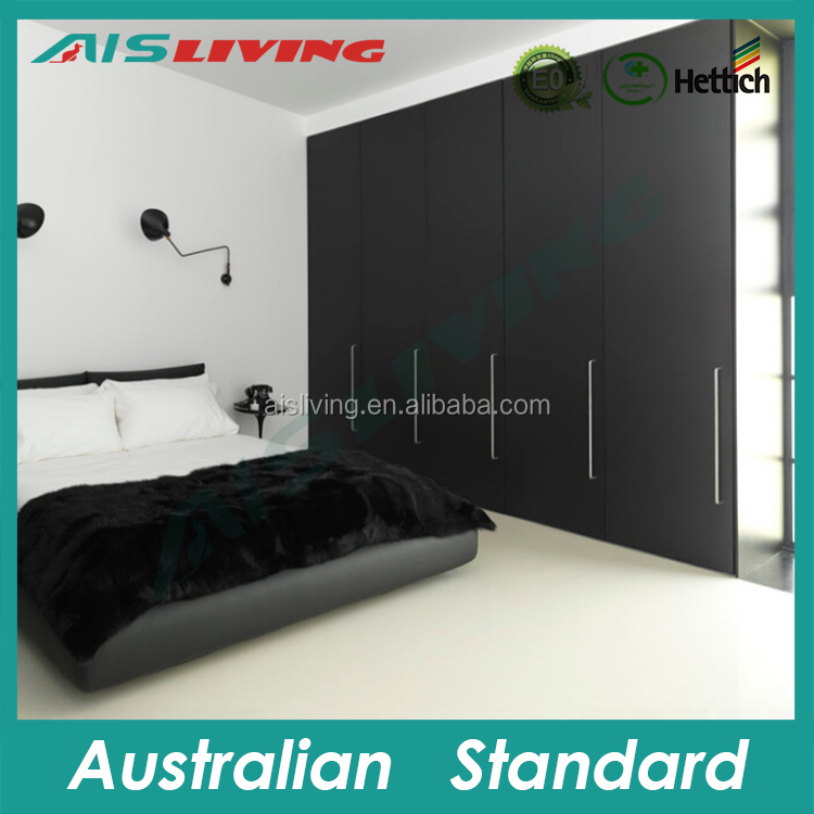 AIS-W125 Black Melamine Bedroom Furniture Wardrobe Pull out door with long handle